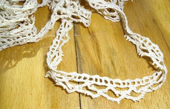 Vintage Trim - Crocheted Trim, Circular Picot Trim, Ecru Trim, Edging Trim