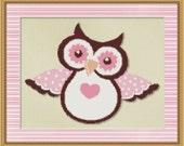 Cross Stitch Pattern Pink Hoot Owl Instant Download PdF