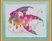 Cross Stitch Pattern Fancy Fish Tropical Colorful Instant Download PdF