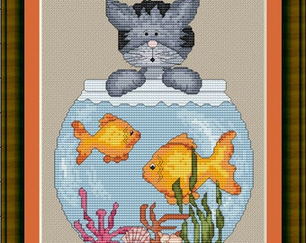Cross Stitch Pattern Mischief Kitty Instant Download PdF