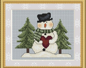 Cross Stitch Pattern Cozy Snowman Instant Download PdF Christmas Holidays