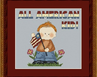 SALE Save 40% Reg. 4.95 Cross Stitch Pattern All American Boy Patriotic Instant Download PdF