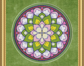 Cross Stitch Pattern Floral Medallion No. 4 Colorful Abstract Design Instant Download PdF