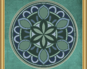 Cross Stitch Pattern Floral Medallion No. 5 Beautiful Abstract Design Instant Download PdF