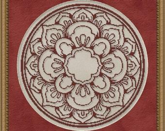 Cross Stitch Pattern Floral Medallion Monochrome No. 1 Single Color Design Instant Download PdF