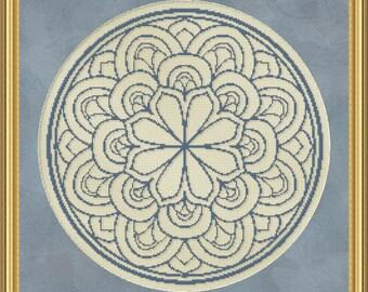 Cross Stitch Pattern Floral Medallion Monochrome No. 2 Single Color Design Instant Download PdF