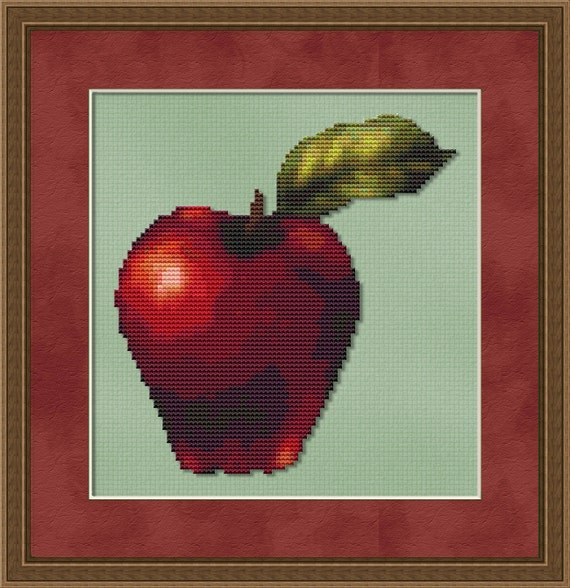 Cross Stitch Pattern An Apple A Day Instant Download PdF
