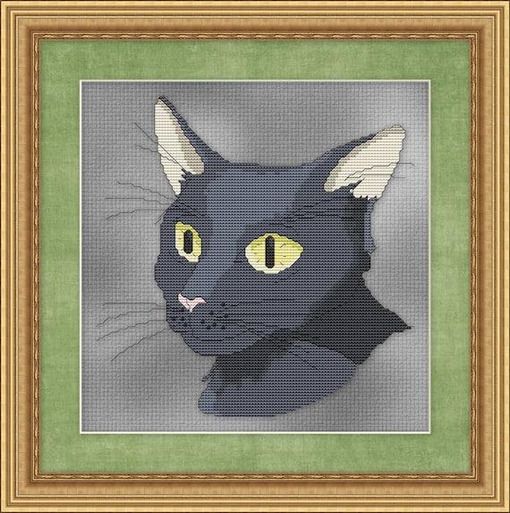 Cat Cross Stitch Pattern Grey Cross Stitch Design Cross Stitch Black Kitten Instant Download pdf Cross Stitch