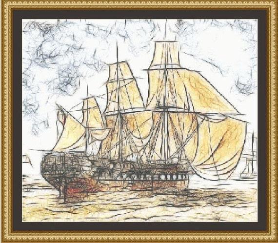 Cross Stitch Pattern Sailing Ship Sketch Cross Stitch Pattern / Design