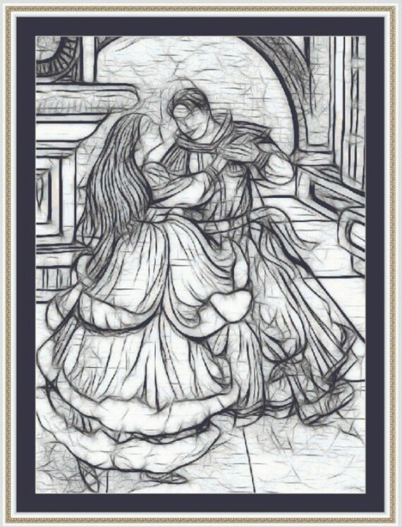 Cross Stitch Pattern The Dance (in greyscale) Stunning Elegant Instant Download PdF