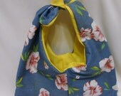 Purse- Tie Handle-Tropical Flowers and Bright Yellow - OOAK