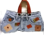 Denim Purse - Patchwork and Buttons - OOAK