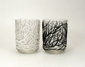 Sea Fan White Set of Glass Votive Candle Holders - Drift / Ocean, Sea, Coral, Home Decor