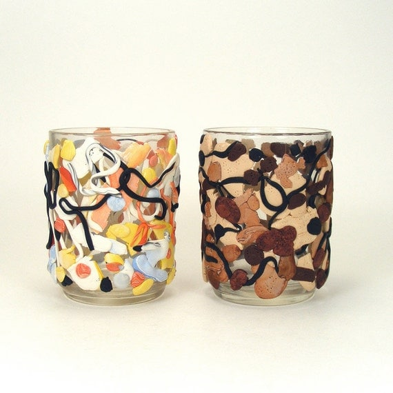 Abstract Expressionism Inspired Set of Glass Votive Candle Holders - Splash / Splatter Art, Home Decor