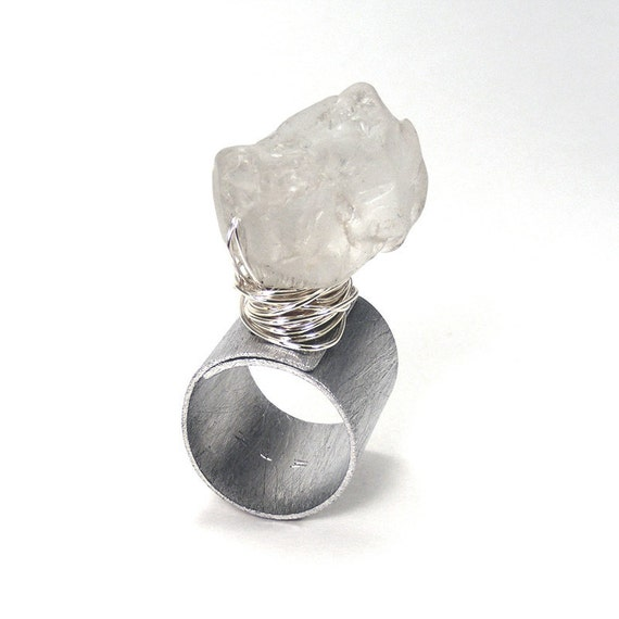 Rock Crystal Stone and Aluminum Band Ring - Regale / Gift under 30, Thick Band, Oversized, Wire Wrapped, Wide Band Ring, Riveted