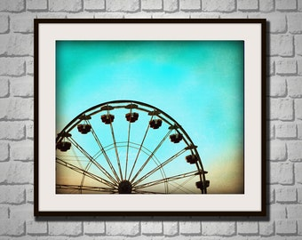 Carnival Dreams- Photography print of ferris wheel. Blue teal background. Kids room, nursery decor.