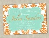 Modern Preppy Tangerine & Aqua Printable Birthday Party or Bridal Shower Invitation - Chevron or Stripes