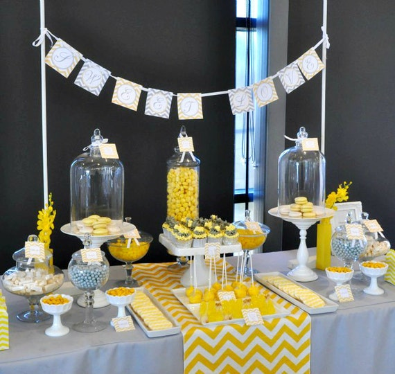 Grey and yellow baby shower table ideas photograph bridal - Baby shower chevron decorations ...
