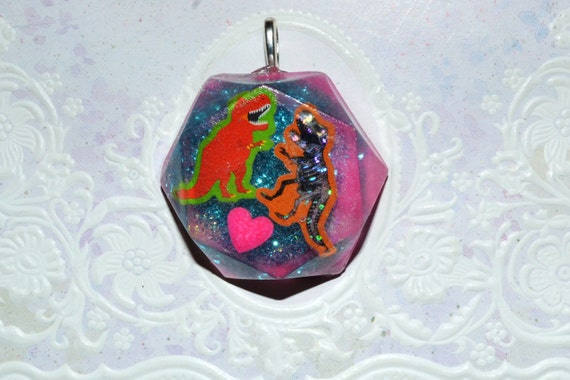 TyeDye T-Rex Love glitter resin necklace