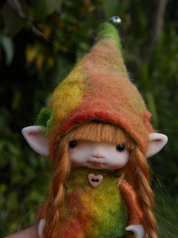 sweet redhaired posable ooak fairy fairie elf tiny 3.5 inches