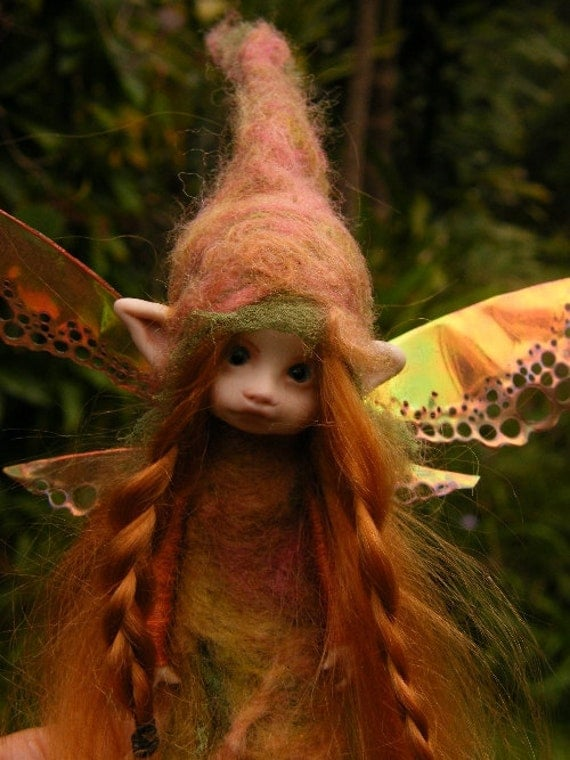 sweet 6in posable forest  fairy fairie with removable wings ooak