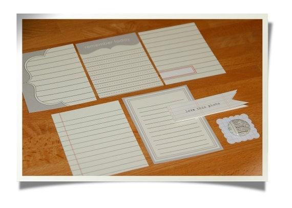 "SALE Journaling Cards & badge set ""Ledger 3"" - Project Life - Scrapbooking"