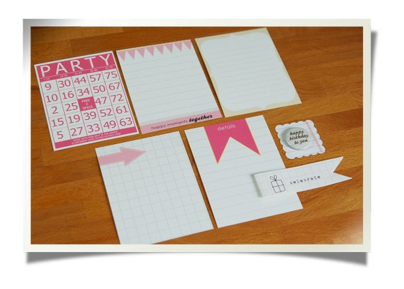 "SALE Journaling Cards & Badge Set ""Birthday Girl"" - Project Life - Scrapbooking"