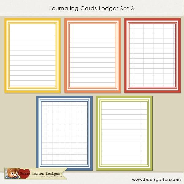 INSTANT DOWNLOAD Printable Journaling Cards Ledger by baersgarten