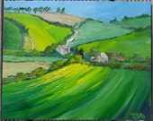 Lush Green English Fields - oil on canvas board. Landscape 10 x 8 inches