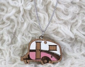 Laser cut wood necklace pendant, Cosy, cute vintage caravan, pink and white handpainted