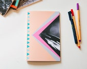 Notebook, A5 sized, peach and blue triangles, geometric shapes and photo cover, perfect bound