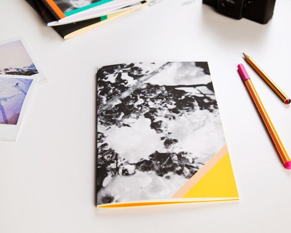 A5 sized notebook/journal,  photo cover with geometric shapes, perfect bound