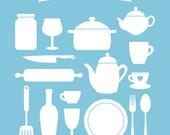 Digital Kitchen clip art, Kitchenware Silhouette clip art, clipart, stationary, card design