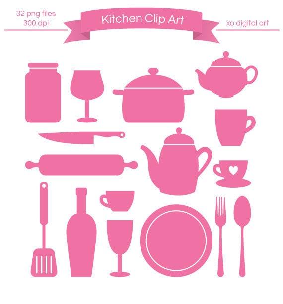 Kitchen Design Clip Art: Items Similar To Digital Kitchen Clip Art, Kitchenware