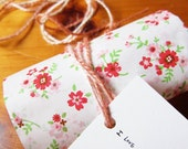 35 MEDIUM Sweet Floral party favor gift paper bag, Christmas RED/WHITE Japanese Zakka craft for sewing, packing, storage, lunch,bento,deco