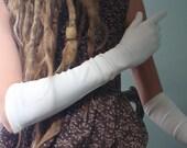 Eloise.  Elegant Long White Wedding Gloves.  Filex Gloves, Made in France.