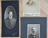 Mustachios.  Collection of 3 Vintage Photos of Men with Mustaches.