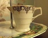 English vintage gold white milk cream tea jug tableware cottage chic  gold art deco