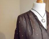 Semi sheer blouse / uk 12 us 10  clothing / chocolate brown / Dolly TopsyEtsy