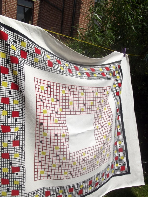Dinning room kitchen decor tablecloth 1960s geometric  square retro black red yellow  white dinning room