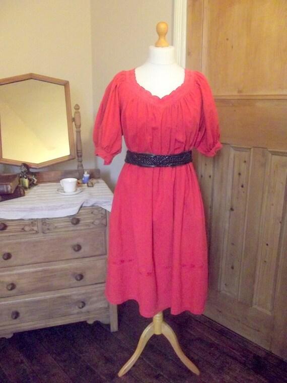 plus size dress / orange /  large / vintage / knee length / vintage fashion / womans clothing / XL  / summer fashion