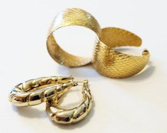 1980s earrings gold pierced hoop set lot