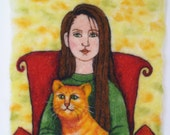 Needle Felted Art Wall Hanging - A Girl Holding A Cat