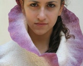 Felted Scarf Merino Wool and Silk Shawl White and Lilac Made To Order Only
