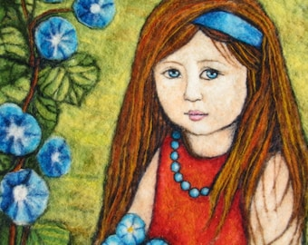 Needle felted Art Wall Hanging - A Girl Picking Flowers In The Garden - Custom Order Only