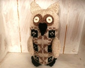 Knitted owl brown black cream
