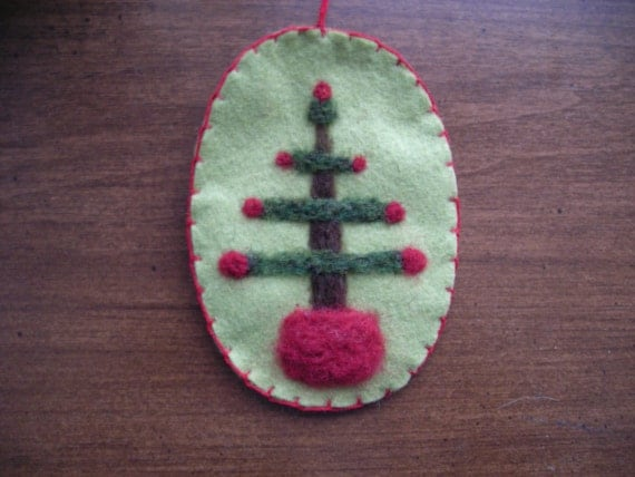 Needle Felted Oval Christmas Ornament Feather Tree on Light Green Wool Felt