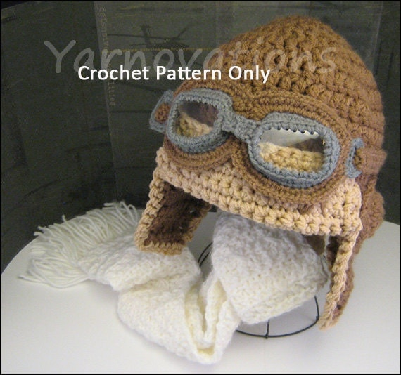 Baby Aviator Hat Knitting Pattern Free : Crochet Baby Aviator Hat Pattern Child and by YarnovationsShop