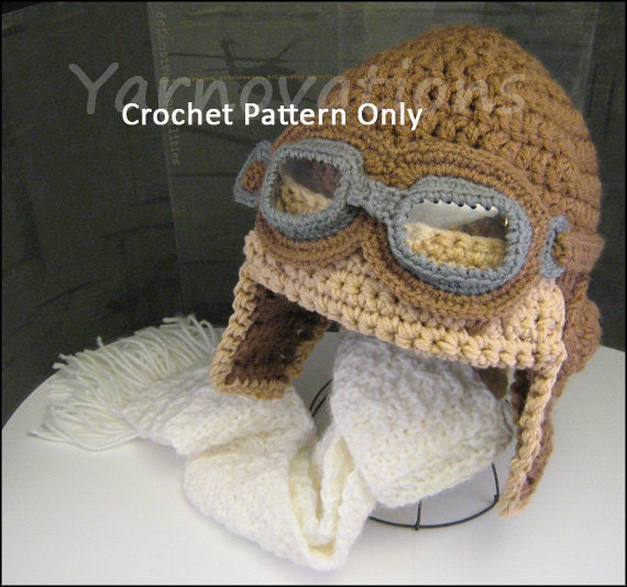 Crochet Baby Aviator Hat Pattern Child and by YarnovationsShop
