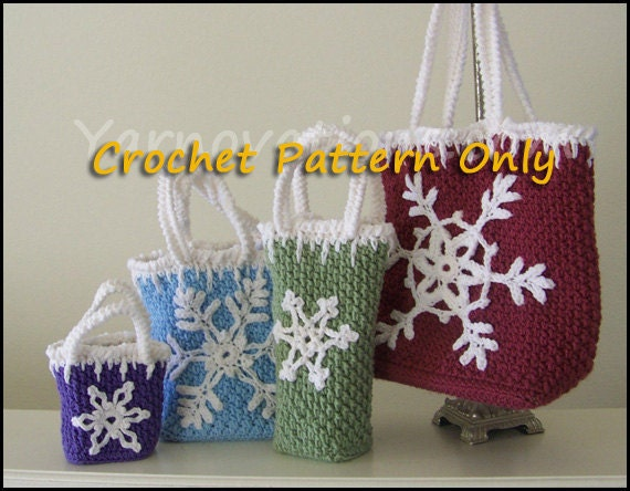 Holiday Gift Bags and Snowflake Ornaments Crochet Pattern
